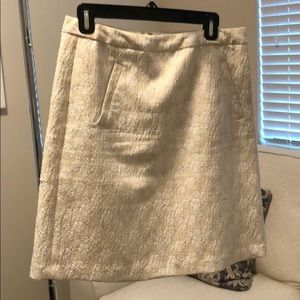 Cream and white pencil skirt